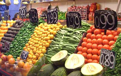 Prices in a fruit and vegetable market